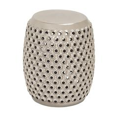 Benzara Mesmerizing Unique Patterned Ceramic Silver Foot Stool