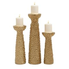 Benzara Fascinating Ceramic Gold Candle Holder Set Of 3