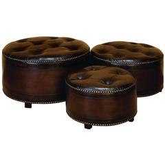 Wood Leather Ottoman S/3 Sitting Capacity Addition