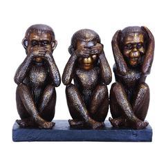 Benzara Monkey Speak, See, Hear No Evil Sculpture