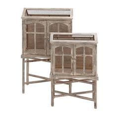 The Beautiful Set Of 2 Wood Metal Bird Cage