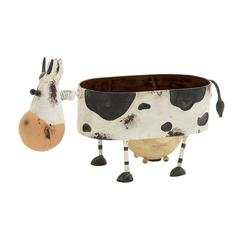 Funky Looking Metal Cow Planter