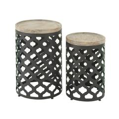 Benzara Exclusively Styled Set Of 2 Metal Wood Accent Table