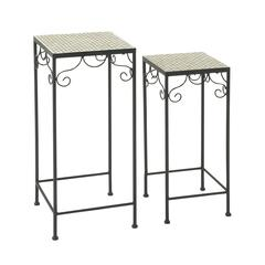 Benzara Durable Set Of Two Metal Mosaic Plant Stand