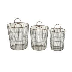 Benzara Durable Set Of Three Metal Baskets