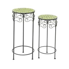 Benzara Wonderful Set Of Two Metal Mosaic Plant Stand