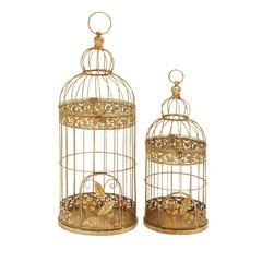 Benzara Charming Set Of Two Metal Bird Cage
