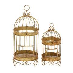 Benzara Stunning Set Of Two Metal Bird Cage