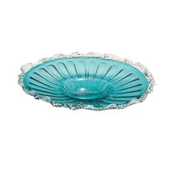 Shiny Textured Adorable Glass Blue Fluted Plate