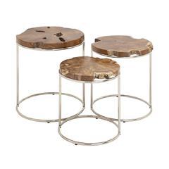 Benzara Classy Set Of 3 Wood Teak Nesting Table