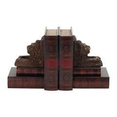 Benzara Wood Leather Bookend Pair For Reading Places