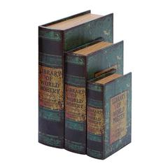 Benzara Faux Book Box Set With Library Of World Poetry Theme