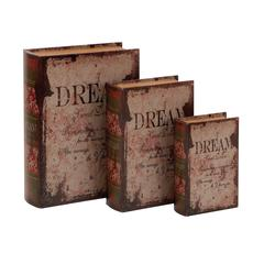 Benzara Leather Book Box With Vintage Design - Set Of 3