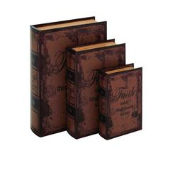 Set Of 3 Faded-Brown Leather Book Box