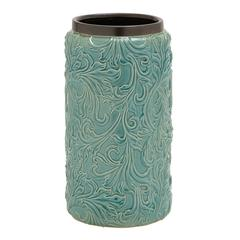 Well Designed Blue Polished Ceramic Vase
