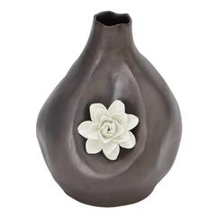 Benzara Dark Brown Polished Fancy Ceramic Vase