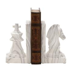 "Stylish Ceramic Marble Finish Bookend Pair 5""W 8""H"
