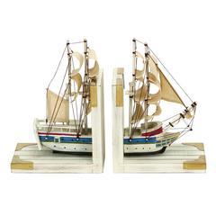 Benzara Nautical Coastal Book Ends As A White Trade Ship