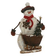 Benzara Alluring Wood Metal Snowman
