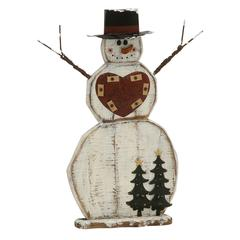 Benzara Captivating Wood Metal Snowman