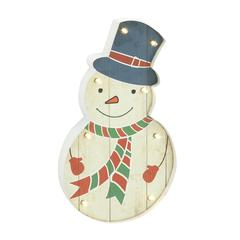 Benzara Smartly Styled Metal Led Wall Snowman