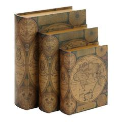 Beautifully Designed Wood Leather Book Box S/3