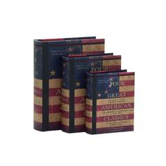 Customary Styled Wood Book Box Set Of 3