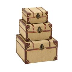 Benzara Old Look Burlap Travel Trinket Box Set