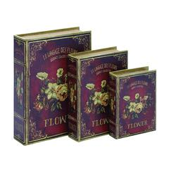 Benzara Book Box In Flaunts Delicate Floral Patterns - Set Of 3