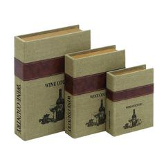 Benzara Burlap Book Box With Durable And Weather Resistant (Set Of 3)