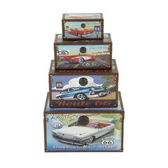"""Funky Wood Canvas Trunk Set Of 4 14"""",20"""",23"""",27""""H"""