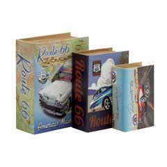 Alluring Set Of 3 Wood Canvas Book Box