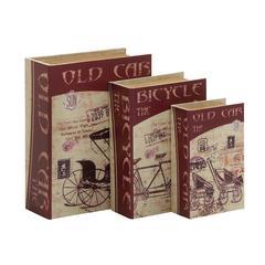 Benzara Fabulous Set Of 3 Wood Canvas Book Box