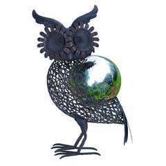 """Benzara Metal Owl Gazing Ball 17""""H, 10""""W Garden Decor"""