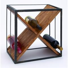 "Sheet Metal Wood Wine Rack 16""H, 15""W"