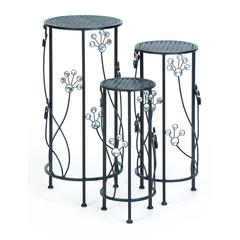 "Metal Plant Stand Set/3 28"", 24"", 20""H Patio Accents"
