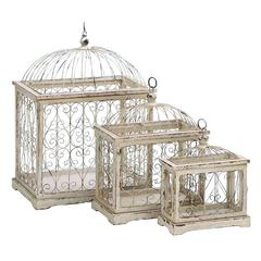 Benzara Metal Bird Cage With Celestial Designs - Set Of 3