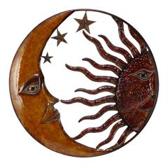 Metal Sun Moon Wall Decor With Antique Brown Look