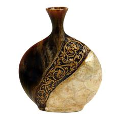 Benzara Ceramic/Capiz Shell Vase In Pot Shape