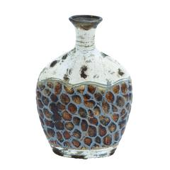 Pot Shaped Ceramic Vase With Broad Base And Narrow Opening