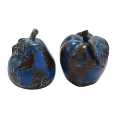 Ceramic Decorative Stoneware Made Apple And Pear Decor (Set Of 2)