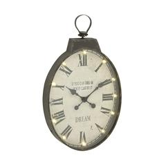Benzara Vintage Themed Metal Led Wall Clock