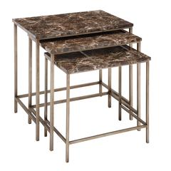 Benzara The Perfect Set Of 3 Metal Faux Marble Table