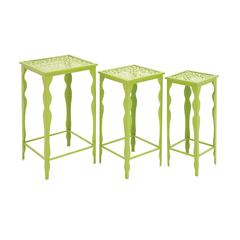 Benzara The Green Set Of 3 Metal Plant Stand