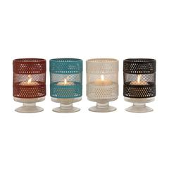 Benzara The Mesmerizing Metal Glass Candle Holder 4 Assorted