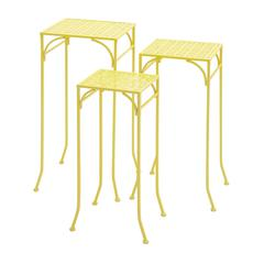 Benzara Yellow Polished Fascinating Metal Plant Stand
