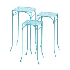 Benzara Blue Polished Beautiful Metal Plant Stand