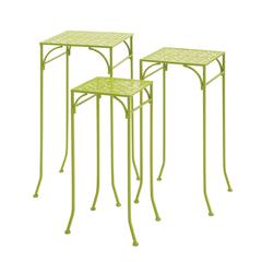 Benzara Green Polished Classy Metal Plant Stand