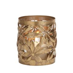 Benzara Customary Styled Metal Glass Candle Lantern