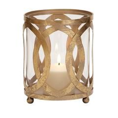 Benzara Classy Styled Metal Glass Candle Lantern